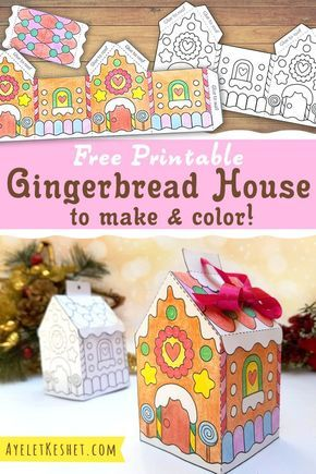 Make DIY gingerbread house ornament with this free printable gingerbread house template coloring page. activities Printable gingerbread house template to color - Ayelet Keshet Fun Christmas Activities, Preschool Christmas, Christmas Crafts For Kids, Christmas Printables, Christmas Projects, Christmas Fun, Holiday Crafts, Holiday Fun, Christmas Decorations