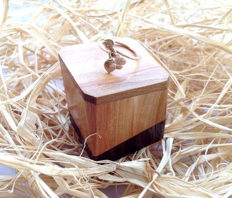 Small Ring Box Wooden Wedding Unique Engagement Custom Wood Le Walnut