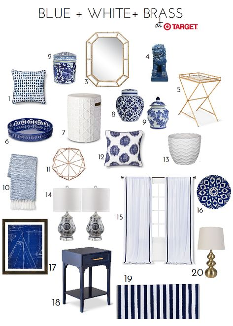 & White Accessory Finds At Target - Emily A. Clark Blue & White Accessory Finds At Target - Emily A. ClarkBlue & White Accessory Finds At Target - Emily A. Blue Rooms, White Rooms, Blue And White Living Room, Living Room Decor Blue, Blue And Gold Bedroom, Navy Blue Bedrooms, Blue And White Pillows, Coastal Bedrooms, Coastal Living Rooms