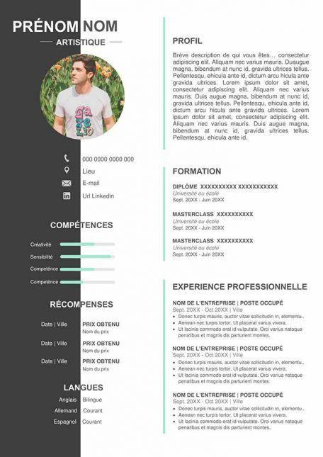 Modele De Cv Original Gratuit A Telecharger Au Format Word Cv Artistique Modele Cv Exemple De Cv Etudiant
