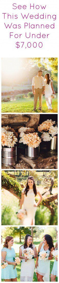 Wedding Planned For Under $7000 - Rustic Wedding Chic. Love the center pieces - cans and lace!