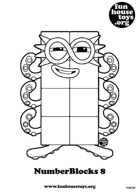 Numberblocks 8 Printable Coloring Page In 2020 Printable Coloring Pages