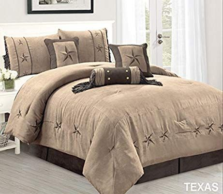 Amazon Com 7 Piece Taupe Brown Gold Bedding Oversize Rustic Texas