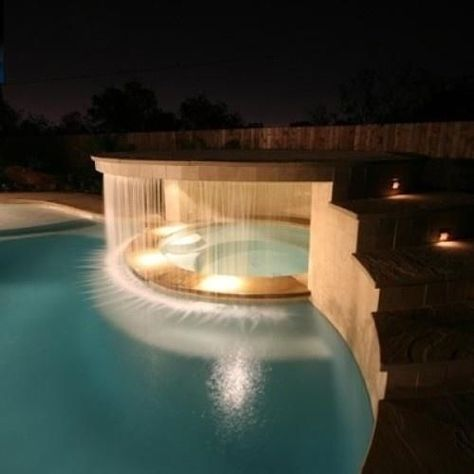 Architecture Discover A Waterfall in the Hot Tub Pool and hot tub both look great. Looks like a backyard fantasy! The type of hot tub/ pool found at late night resorts! Luxury Swimming Pools, Luxury Pools, Swimming Pools Backyard, Dream Pools, Swimming Pool Designs, Backyard Beach, Lap Pools, Indoor Pools, Pool Decks