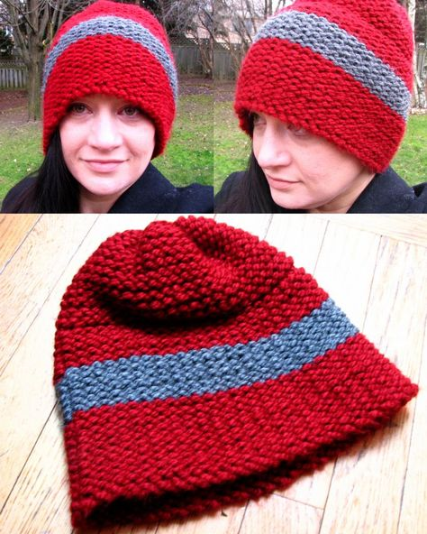 30008a4ac3d XL red and grey toque - knit with the Martha Stewart Knit   Weave Loom Kit