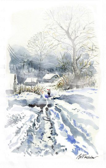 Robert E Kallahan Winterlandschaft Aquarelllmalerei Kunst