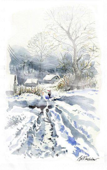 Aquarell Onlinekurs Winterlandschaft Winterlandschaft