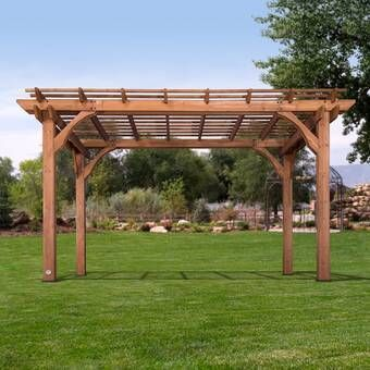 Madison 14 Ft W X 10 Ft D Solid Wood Pergola In 2020 Wood Pergola Backyard Pergola Vinyl Pergola