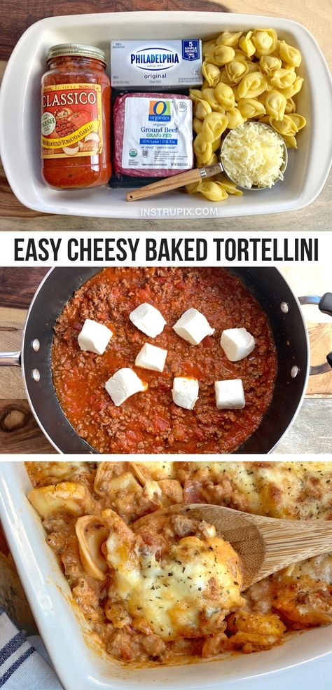 Beef Recipes For Dinner, Cooking Recipes, Simple Dinner Recipes, Easy Meals For Dinner, Easy Cooking, Tortellini Bake, Baked Tortellini Recipes, Le Diner, Food Dishes