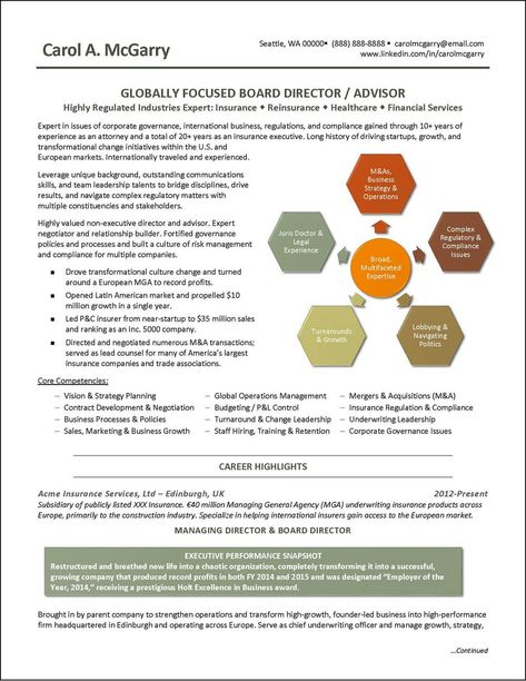 An Executive Resume Written For A Globally Focused Insurance And