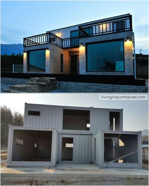Luxury Container House Located South Korea - Living in a Container This house looks almost like a traditional brick house. This house has a different exterior surface than the container frame. Small House Design, Modern House Design, Shipping Container Home Designs, Shipping Container Cabin, Shipping Container Homes Australia, Converted Shipping Containers, Shipping Container Buildings, Building A Container Home, Tiny Container House