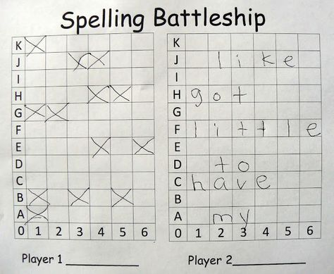 BATTLESHIP SPELLING PRACTICE~  In this 2-player, each students inserts his or her word list in spaces going across.  Players take turns guessing coordinates. If they miss, they mark it on their board. If they hit a letter, they keep guessing until they miss. If they sink a word, the player marks it off of his list. The goal of the game is to sink all of your opponent's words.  Fun and great practice!