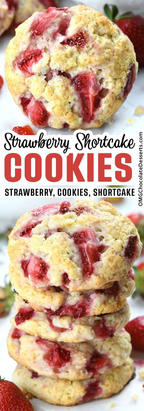 Strawberry Shortcake Cookies made with cream and fresh diced strawberries is a portable version of a classic dessert and light, tender, and soft cookies, full of fresh strawberry flavor. #strawberry #cookies #shortcake