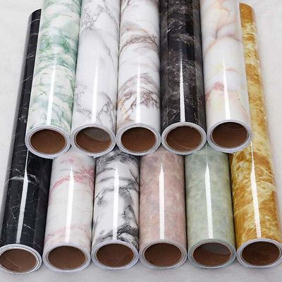 Diy Marble Paper Film Glossy Worktop Peel Stick Self Adhesive