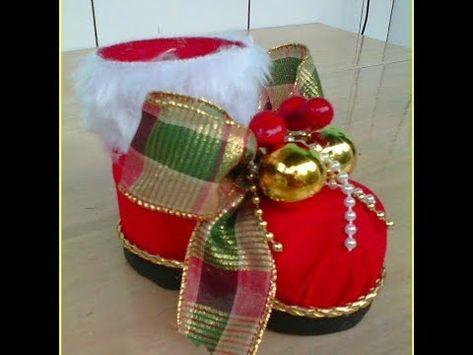 Botinha Do Papai Noel Com Garrafa Pet Papelao E Tnt Uma Linda