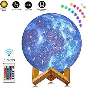Xiarui Night Light For Kids Star Moon Lamp 16 Colors Led 5 9 Inch 3d Printing Star Moon Light With Stand Remote Control Touch Sensor Usb Recharge Dimmable Moo In 2020 Led Color