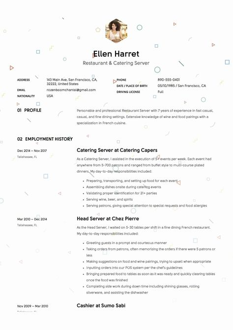 Resume Examples For Servers Beautiful 12 Restaurant Server Resume Sample S 2018 Free Downloads In 2020 Server Resume Resume Examples Good Resume Examples