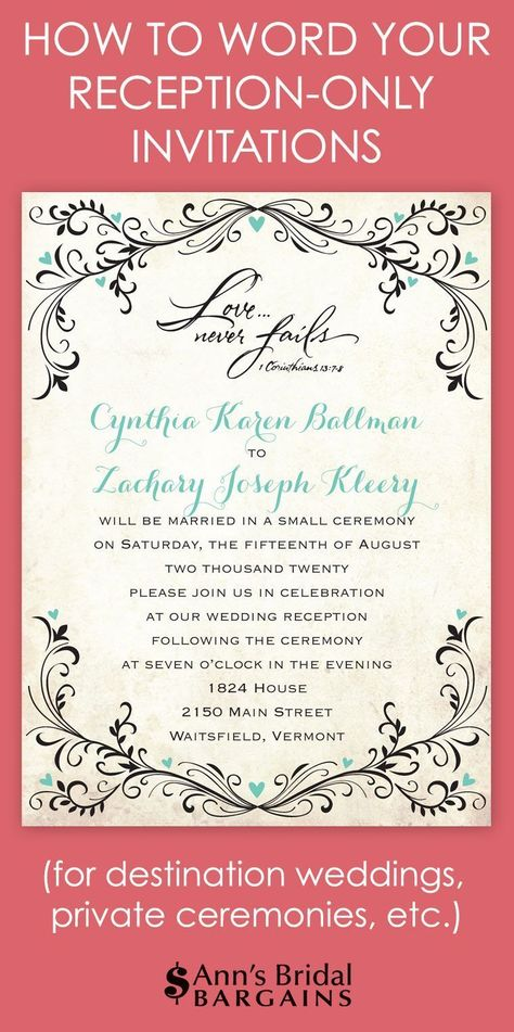 Reception Only Invitation Wording Wedding Help \ Tips Pinterest - invitation wording for elopement party