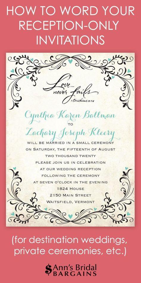 Reception Only Invitation Wording Wedding Help \ Tips Pinterest - fresh invitation wording reception