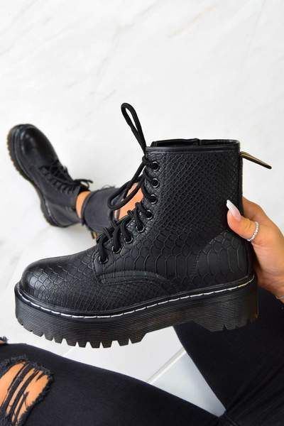 MAKE IT Chunky Platform Lace Up Ankle Boots Black Croc in