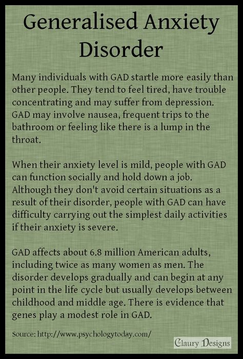 general anxiety disorder gad What is gad occasional anxiety is a normal part of life you might worry about things like health, money, or family problems but people with generalized anxiety disorder (gad) feel extremely worried or feel nervous about these and other things—even when there is little or no reason to worry about them.