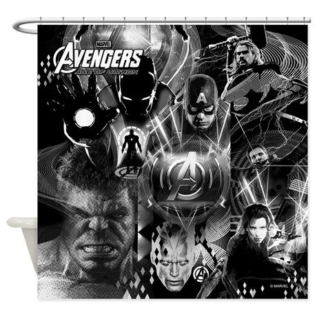 Age Of Ultron Black And White Marvel Shower Curtain From The Superhero  Shower Curtain Category At RodsAndCurtains.com. | Marvel Shower Curtain |  Pinterest ...