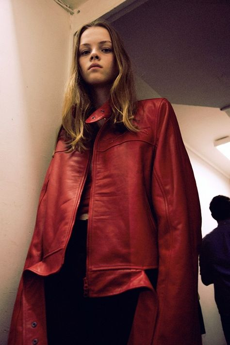 Oversized red leather jacket backstage at Vêtements SS15 PFW. More images here: http://www.dazeddigital.com/fashion/article/21923/1/vetements-ss15