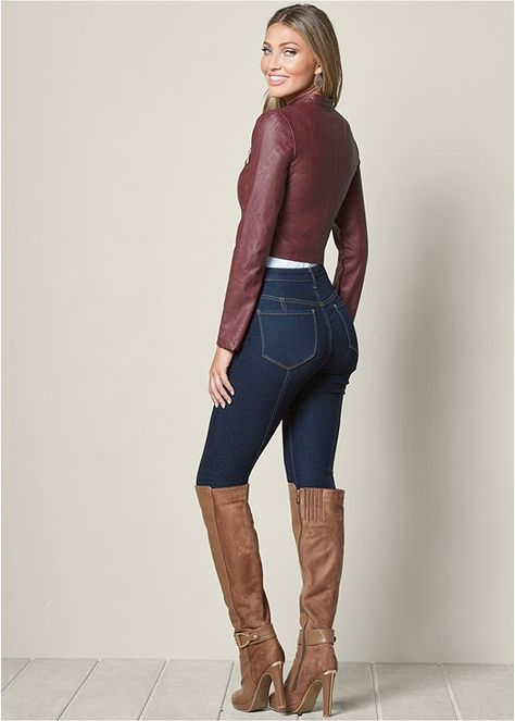 FAUX LEATHER LACE UP JACKET, SEAMLESS CAMI, DETAIL OVER THE KNEE BOOT