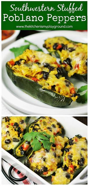 Southwestern Stuffed Poblano Peppers Filled With A Fun Festive Yellow Saffron Rice Salsa Filling They Re Stuffed Peppers Stuffed Poblano Peppers Poblano