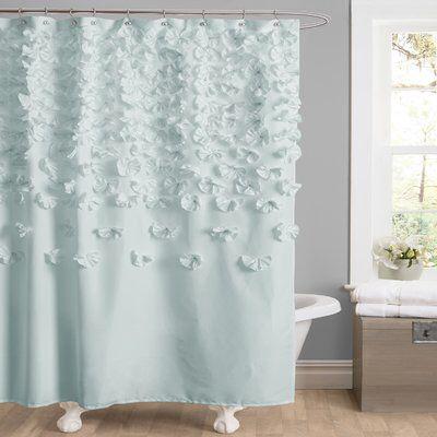 Rieke Floral Single Shower Curtain Fabric Shower Curtains Blue