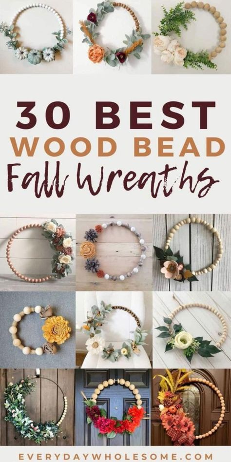 Fall Wood Bead Wreaths you can use as a door hanger for your outdoor or indoor home decor for Thanksgiving Home Decor for your front porch. Some of these wooden beads are stained and unstained and are gorgeous home decor for your front door and porch for this Autumn season. There are real and felt flowers in all fall colors like orange, plum, red and purple. #fallbeadwreaths #beadwreaths #fallwreaths #autumnbeadwreaths #autumnwreaths #wreath #diywreath #fallwreath #autumnwreath #woodbeadwreath