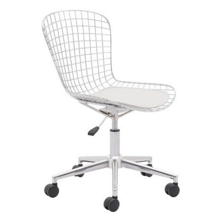 Wire Office Chair Chrome With White Cushion Walmart Com Modern Office Chair Office Chair White Office Chair
