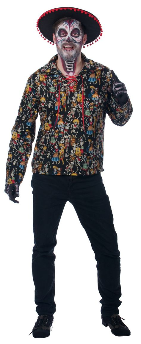 Dead Man/'s Party Costume Shirt Mens Adult Day of The Dead Black Skeleton SM-XXL