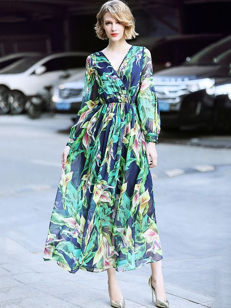 Buy Fashion V-Neck Long Sleeve Floral Print Maxi Dress at DressSure.com Color:Green; Size:S, M, L, XL; Material:Lanon, Cotton; Style:Casual; Silhouette:A-Line Dresses; Dresses Length:Ankle-Length; Sleeve Length:Long Sleeve; Neckline:V-Neck; Waistline:Empire; Decoration:Other; Pattern Type:Print; Characteristics:Lining; Season:Spring, Fall; Price: US$ 91.49