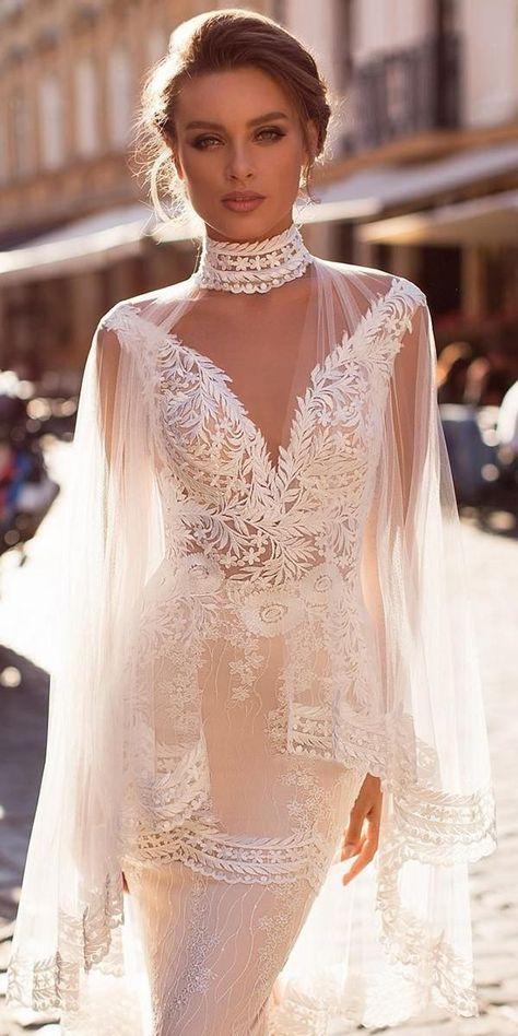 Wedding Dresses Fall 2019: See The New Trends �  wedding dresses fall 2019 lace plunging neckline with cape pollardi #weddingforward #wedding #bride