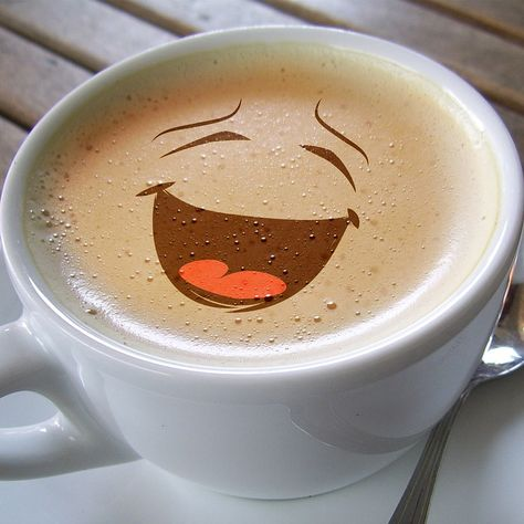 Cup, Coffee, Foam, Café Au Lait, Smile, Laugh, Smiley