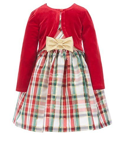 a108075a95fd Bonnie Jean Little Girls 2T-6X Long Sleeve Cardigan & Holiday Plaid  Fit-And-Flare Dress Set Lorelei & Delilah