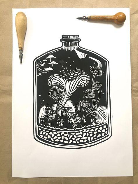 I Make Unique Botanical Inspired Linocut Prints Applique Tutorial, Crochet Flower Tutorial, Lino Art, Book Of Kells, Tampons, Floral Illustrations, Linocut Prints, Book Crafts, Fabric Painting