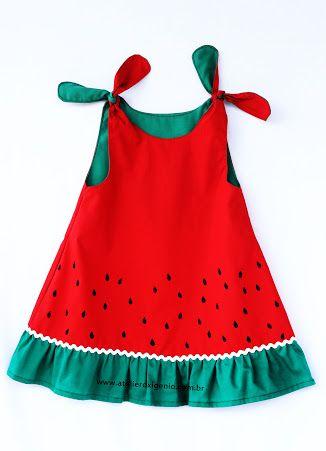 d0baf1be5bc6 Resultado de imagem para vestido melancia infantil. | Festa Melancia ...