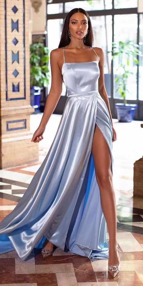 Wedding Party Dresses: 21 Chic Looks ❤ wedding party dresses simple long beach blue alamourthelabel❤ #weddingdresses Gala Dresses, Party Wear Dresses, Wedding Party Dresses, Satin Dresses, Long Satin Dress, Satin Formal Dress, Occasion Dresses, Formal Dresses For Weddings, Suits