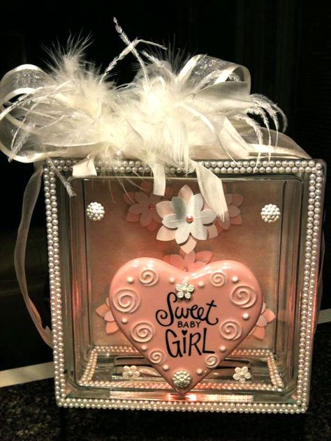 """""""Sweet Baby Girl"""" lighted glass block - made for a friend baby that's on the way!  She's decorating the room in ivory/white, pearls and lace so I created this night light to compliment the rest of the room.    Supplies from Hobby Lobby and Michael's.  Used a pink night light bulb to provide softer lighting."""