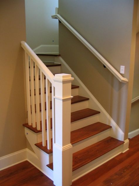 Painted box newel post, Brazilian cherry treads with painted handrail & balusters | Yelp