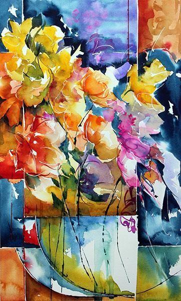 Escapade Painting 50x30 Cm By Veronique Piaser Moyen Aquarelle