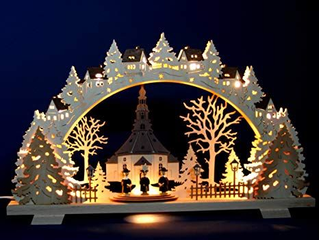 Weihnachtsdeko Schwibbogen.Affiliate 3d Schwibbogen Seiffener Kirche Kurrende Handarbeit
