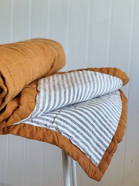 Home Decor Cozy Ochre & Grey Stripes Quilt Foxtrot Home.Home Decor Cozy Ochre & Grey Stripes Quilt Foxtrot Home Double Queen Bed, King Single Bed, Quilt Bedding, Linen Bedding, Bed Quilts, Baby Boy Quilts, Home Bedroom, Bedroom Decor, Bedroom Signs