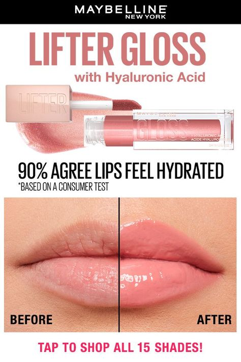 Try Maybelline New York Lifter Gloss Lip Gloss! Our new next-level lip gloss is formulated with hyaluronic acid to keep lips hydrated and glossy. It also comes with an XL wand to enhance lip contour with shine and immediately transform lips in one swipe. Tap to shop all 15 shades.