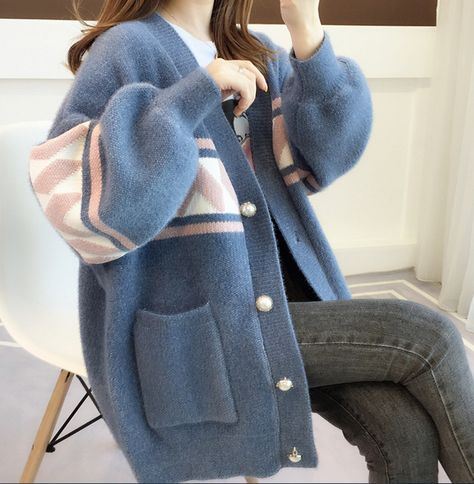 Korean style loose velvet coat sweater cardigan #PR1035
