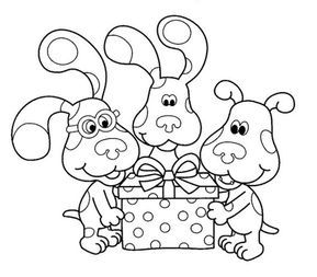 Blues Clues Opening A Gift Coloring Picture Birthday Coloring Pages Coloring Pages For Kids Bear Coloring Pages