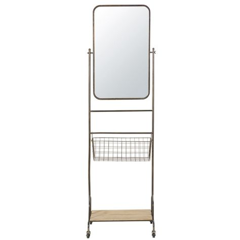 Maison Du Monde Mensole.Specchio Con Rotelle In Metallo Nero E Mensola In Abete