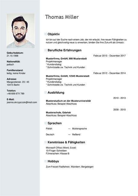 Cv Template Germany Resume Design Template Resume Format Template